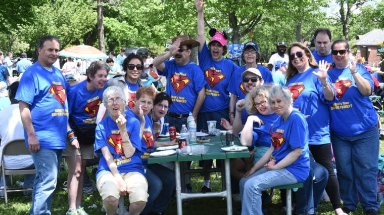 People from AHRC Nassau's Freeport Day Hab say hello at an event held in Eisenhower Park