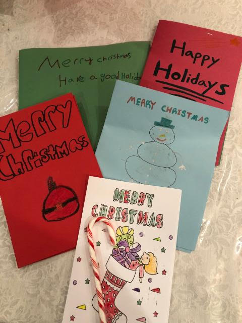 Cards accompany gifts
