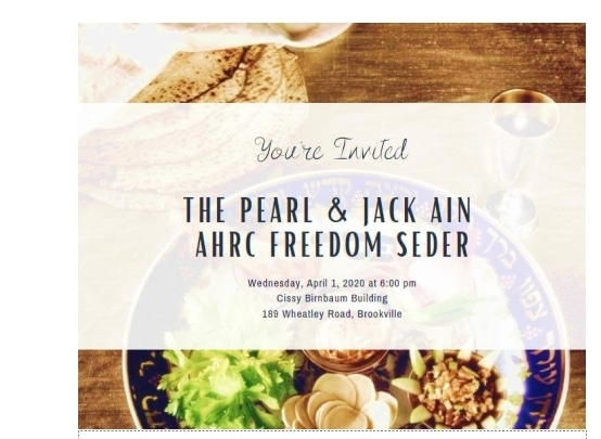 Invitation for Pearl & Jack Ain Freedom Seder on Wednesday, April 1, 2020