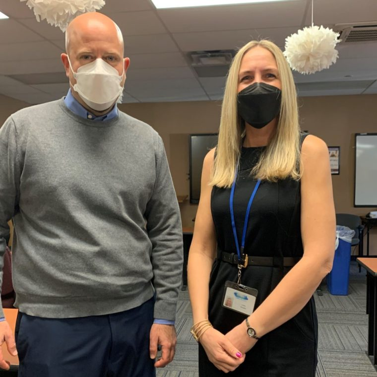 Jason Persan, Assistant Director of Human Resources, and Laura Franzen, Human Resources Manager, ensured that 125 people supported in Nassau County received their vaccination in our Plainview facility.