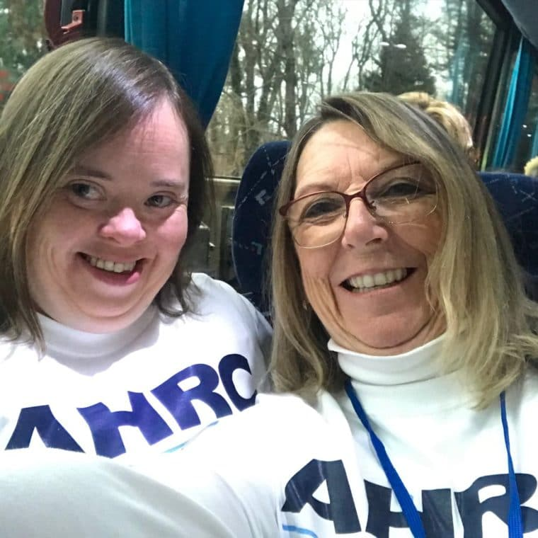 Self-advocate, Meredith Shear, and mother, Janice, prepare for the rally.