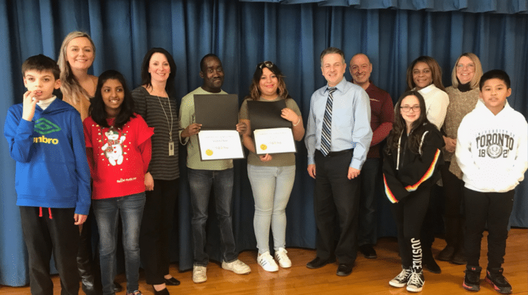 One Stop Gift Shop receives certificates of achievement from Dutch Lane Elementary School in Hicksville