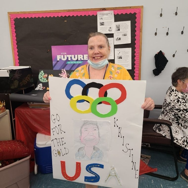 AHRC Day Services Cheer on Olympian Kristine O'Brien