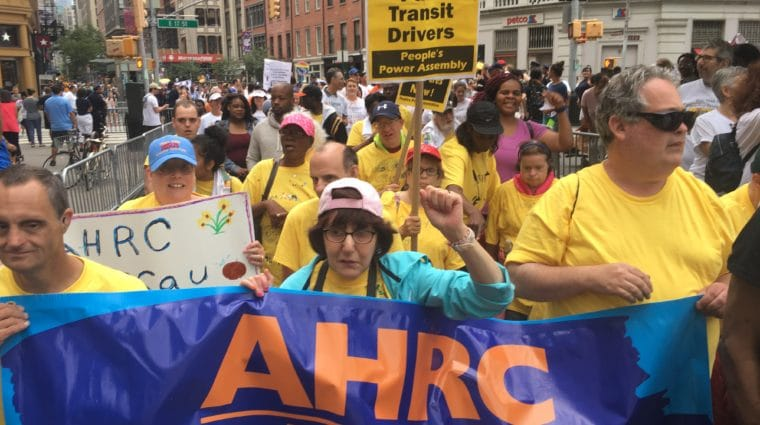 AHRC Nassau self-advocates and direct support professionals march to have their voices heard in New York City as part of the Disability Pride Parade.
