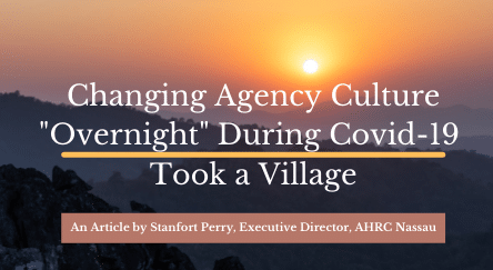 """Image of a sunset with the headline: """"Changing Agency Culture 'Overnight' During Covid-19 Took a Village"""