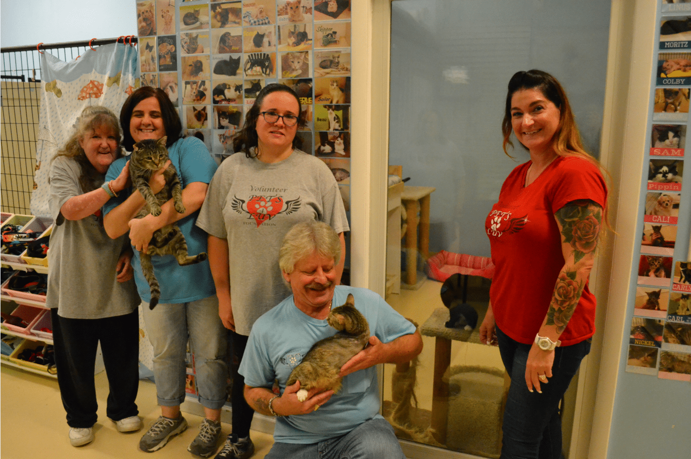 Community habilitation workers volunteer alongside the people they support at the Pets4Luv animal shelter.