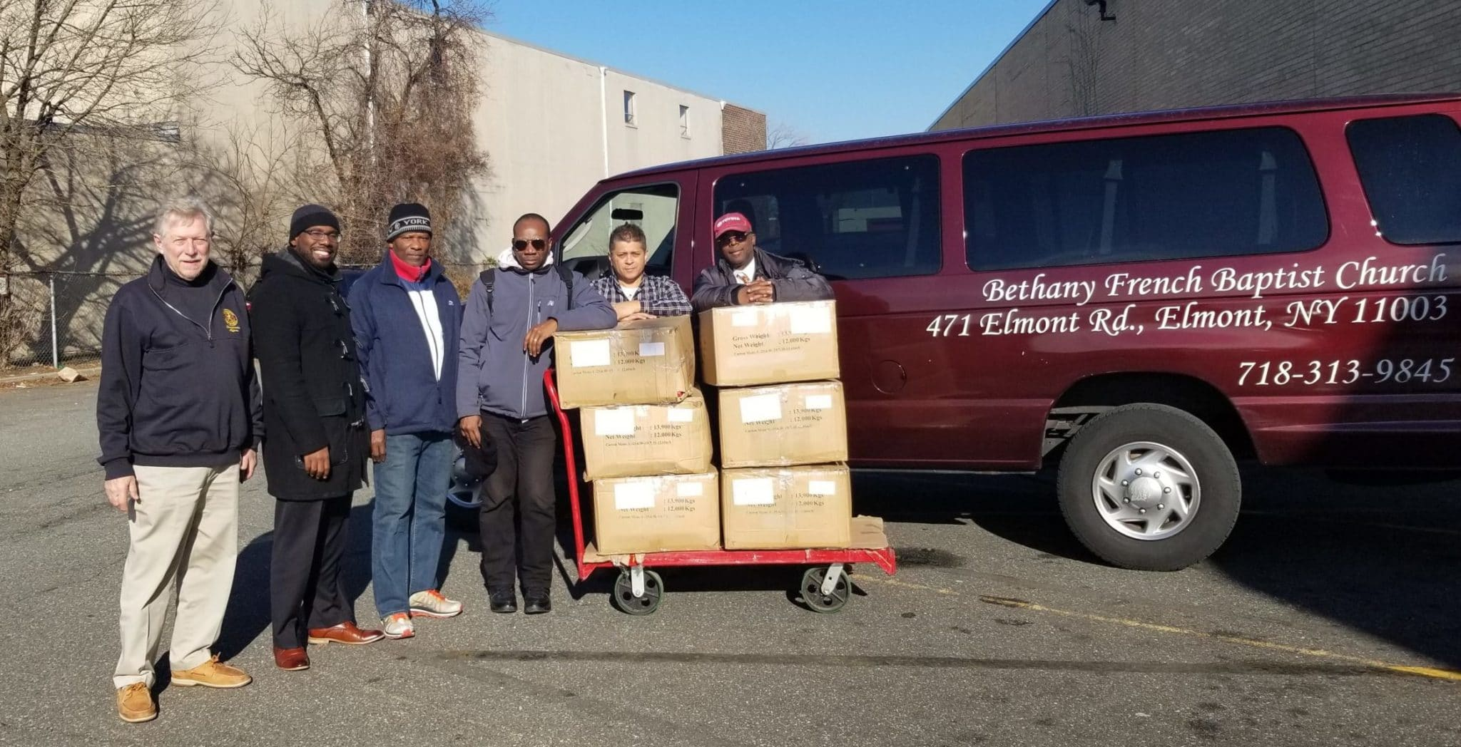 Community partner picks up jackets from AHRC Nassau Employment Services Division