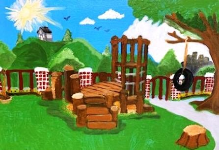 Bright skies and a cheerful playground take centerstage in this painting