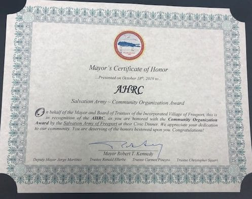 Honor from Mayor of Freeport to AHRC