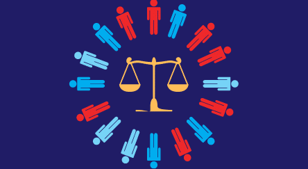 Scales of justice surrounded by people